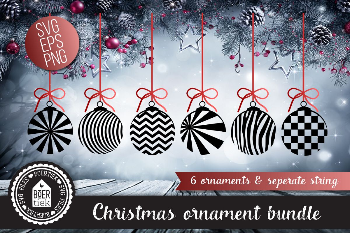 Christmas ornament bundle, 6 ornaments, seperate string, SVG example image 1