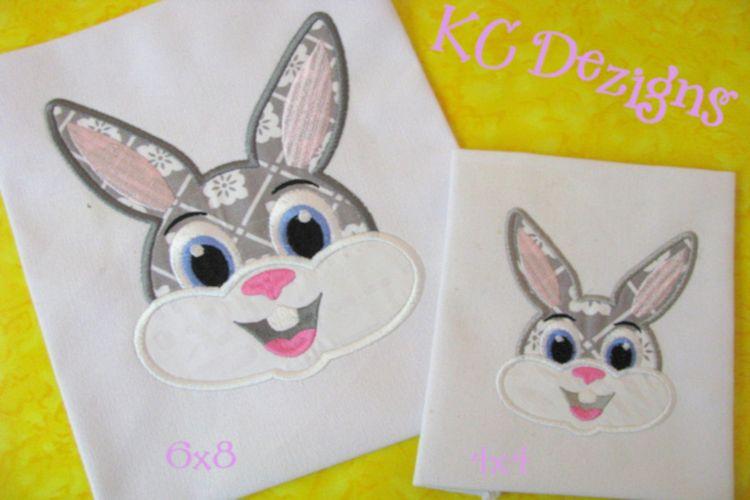 Boy rabbit face machine applique embroidery design