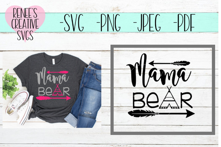 Mama Bear | Mothers day | SVG Cutting File example image 1