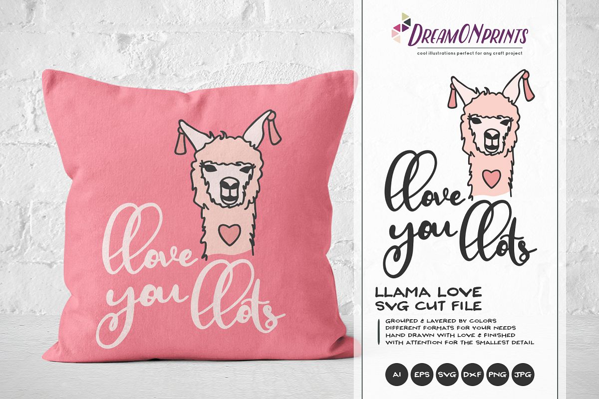 Love You Lots - A Fun Llama SVG example image 1