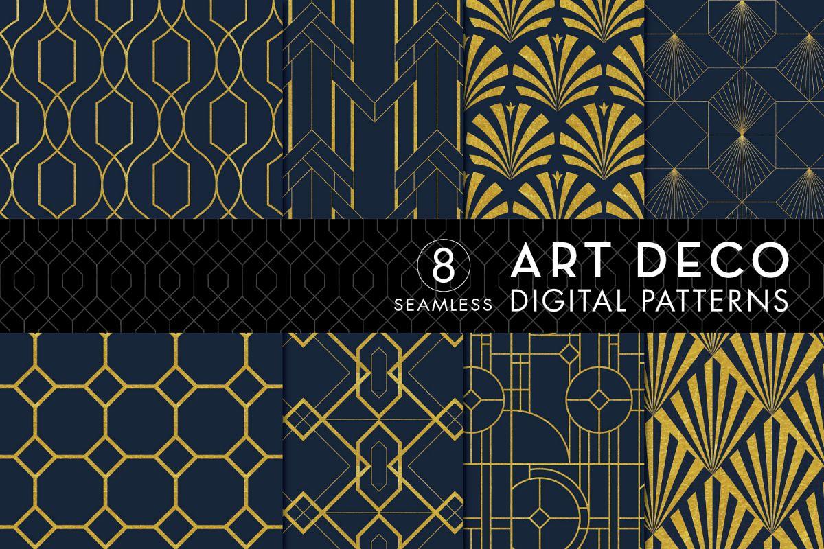 Art Deco: 8 Seamless Art Deco Patterns