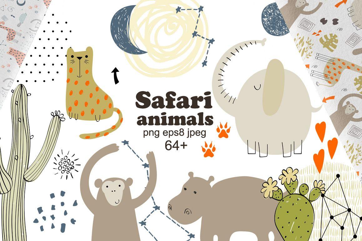 Safari animals. Vector set. example image 1