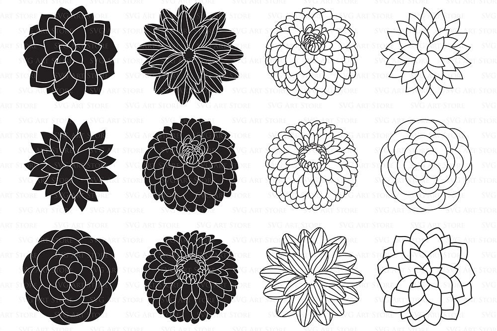 Dahlia Flowers SVG Files - Peony Flowers Outline, Floral svg cutting files for Cricut and