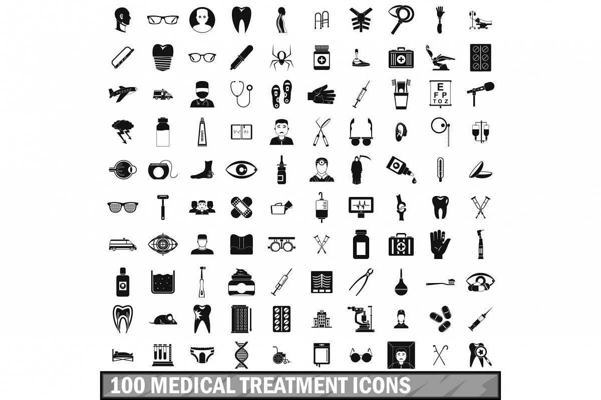 100 medical treatmet icons set, simple style example image 1