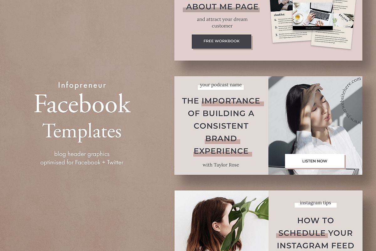 Blog banner & Facebook template pack example image 1