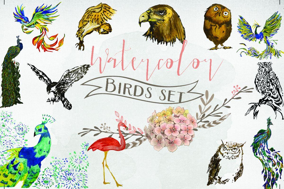 Watercolor birds set example image 1