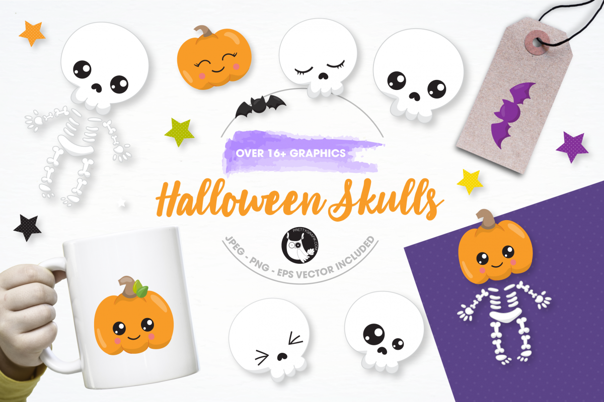 Halloween skulls graphics and illustrations example image 1