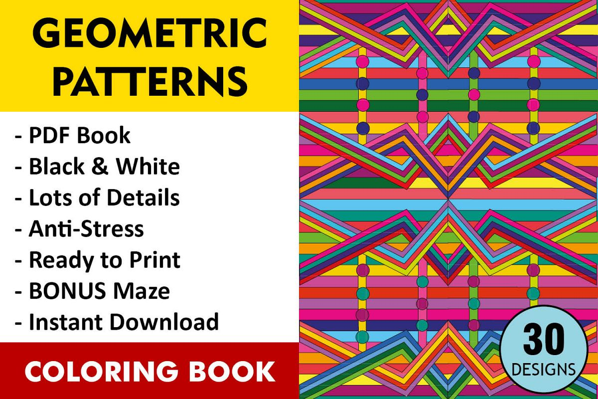 Geometric Patterns Coloring Book 30 Geo | Design Bundles