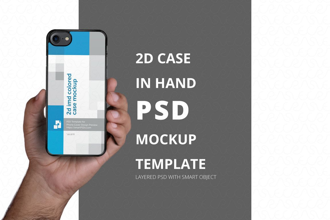 2d Phone Case in Hand PSD Mockup Template Iphone 7 example image 1