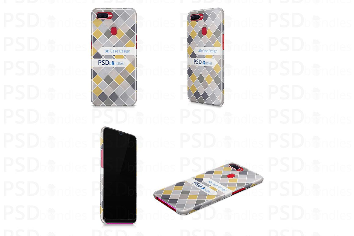 Oppo F9 Pro 3d Case Design Mock-up Four Angles