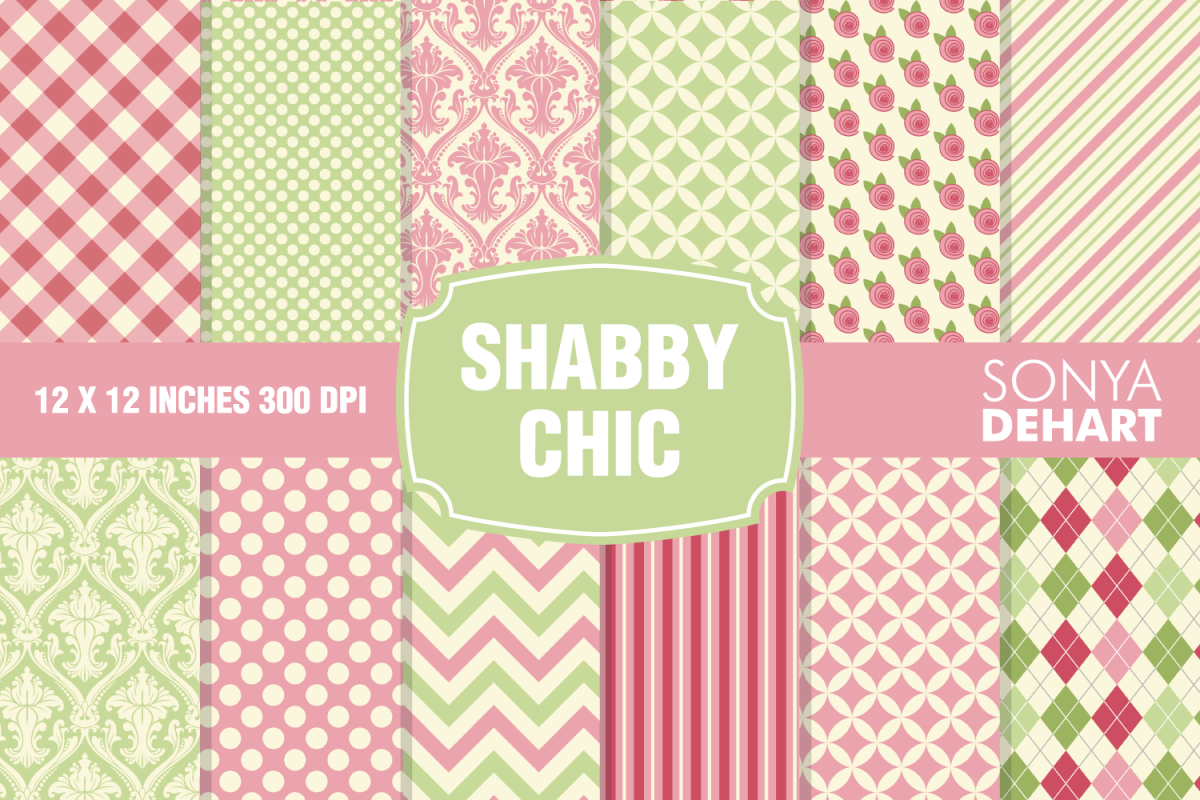 Shabby Chic Digital Paper Pattern Pack example image 1