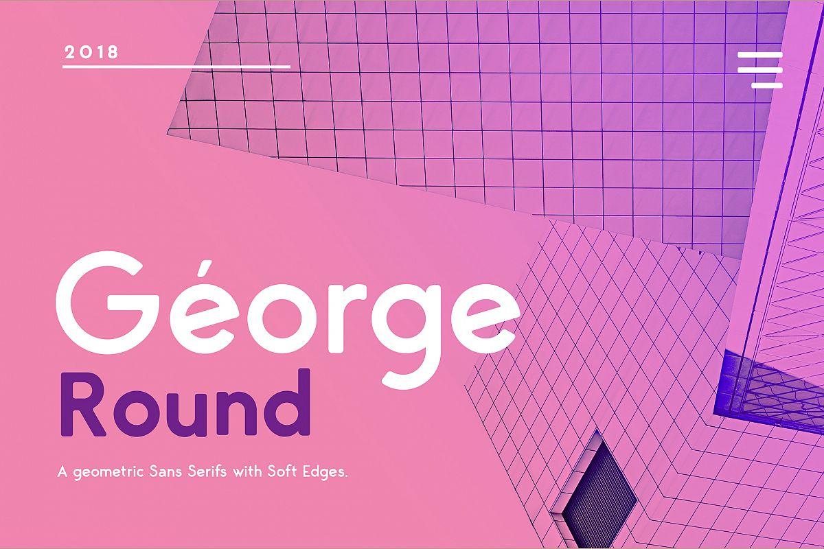 George Round 8 Fonts Round Edge Geometric Typeface example image 1