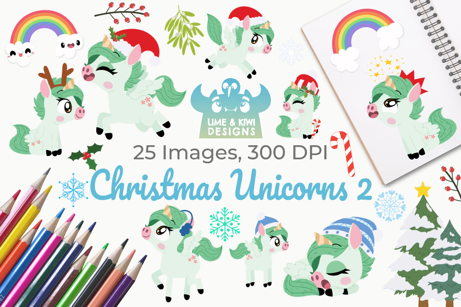 Christmas Unicorns 2 Clipart, Instant Download Vector Art example image 1