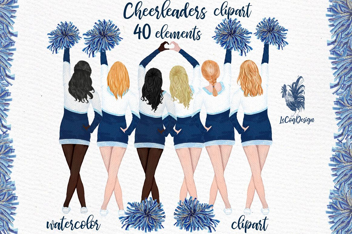 Cheerleaders Clipart Watercolor Girls Clipart example image 1