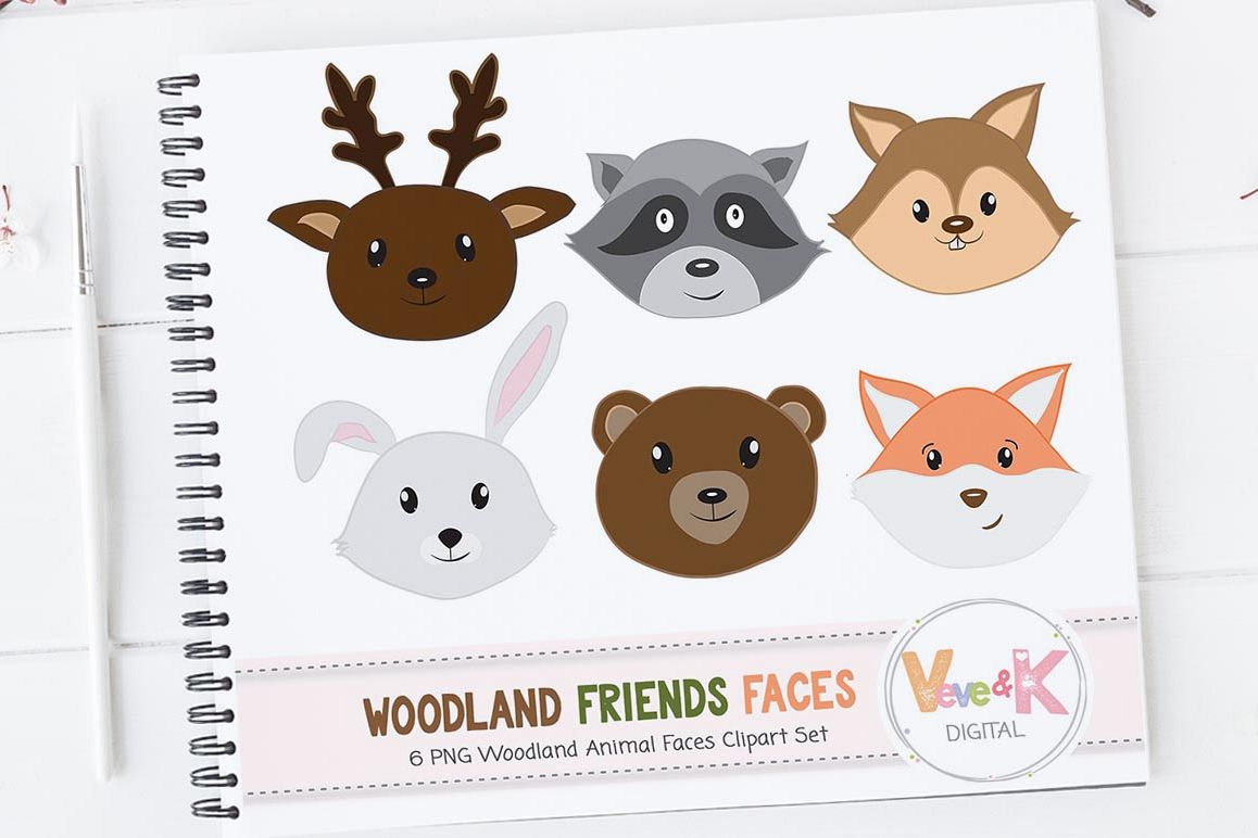Forest Animals Faces Woodland Animals Clipart Deer Fox Racoon