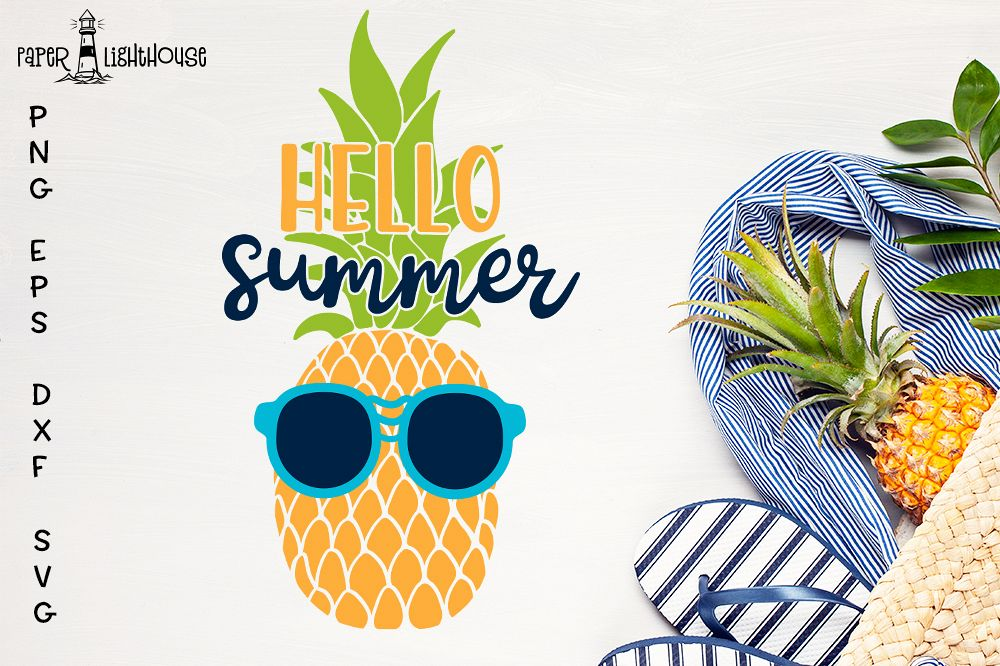 Hello Summer Pineapple svg - Beach Summer shirt design example image 1