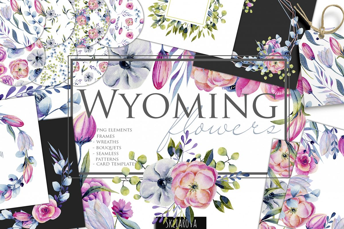Wyoming flowers. Watercolor clipart. example image 1