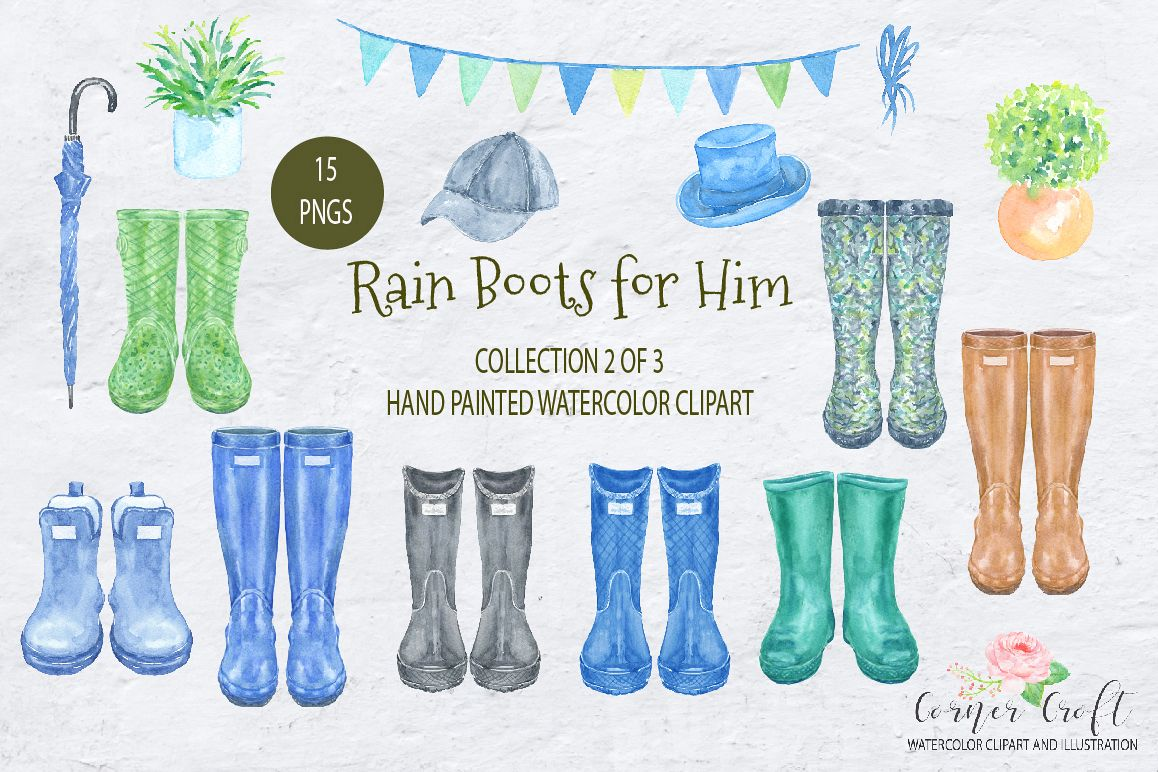 Watercolor Rain Boots for Him example image 1