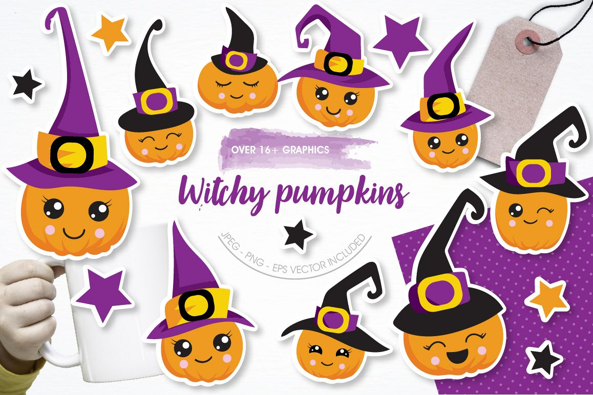 Witchy Halloween pumpkins graphics and illustrations example image 1