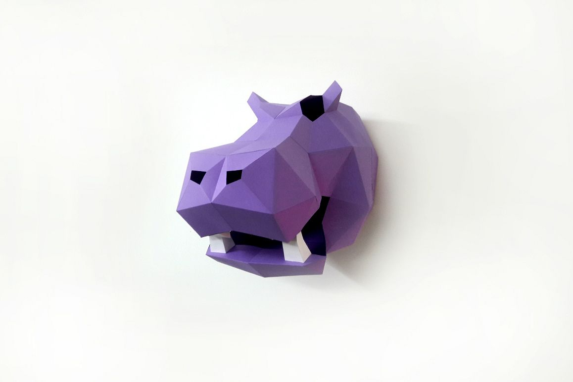 DIY Hippo Trophy - 3d papercraft example image 1
