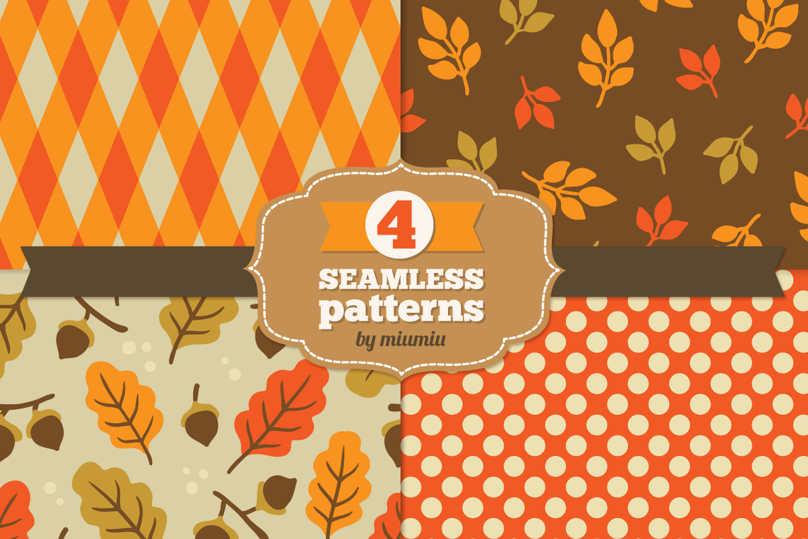 Autumn Seamless Patterns example image 1