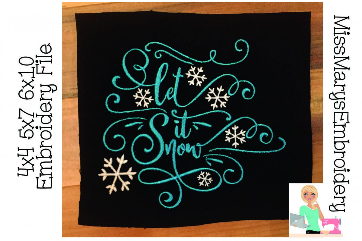 Let it Snow Embroidery Design  example image 1