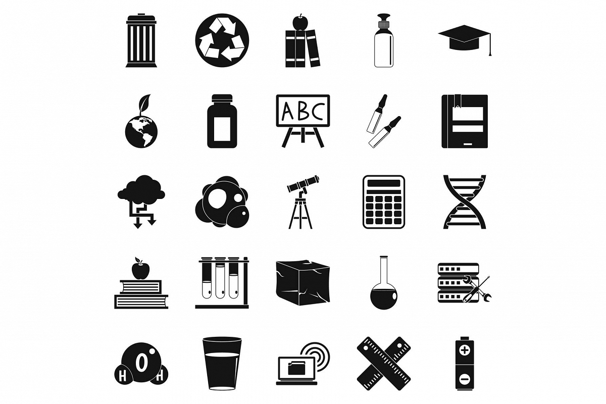 Element icons set, simple style example image 1