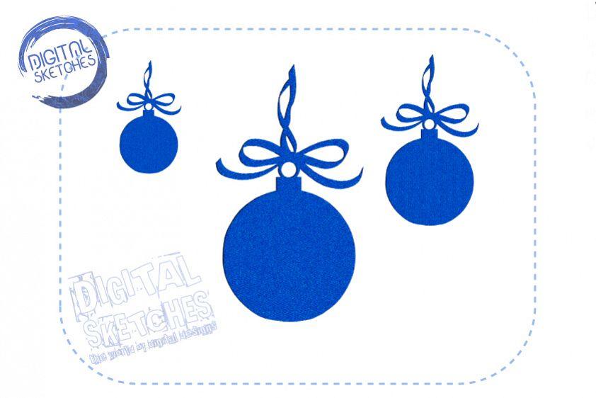 Christmas Bulb Machine Embroidery Design 3 Sizes example image 1