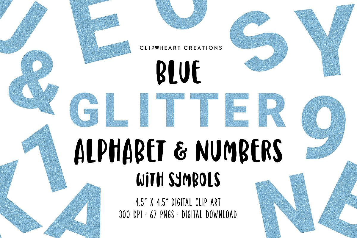 Blue Glitter Alphabet & Numbers with Symbols example image 1