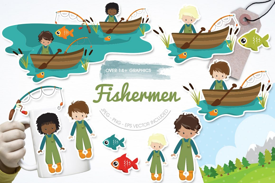 Fishermen graphic and illustrations example image 1