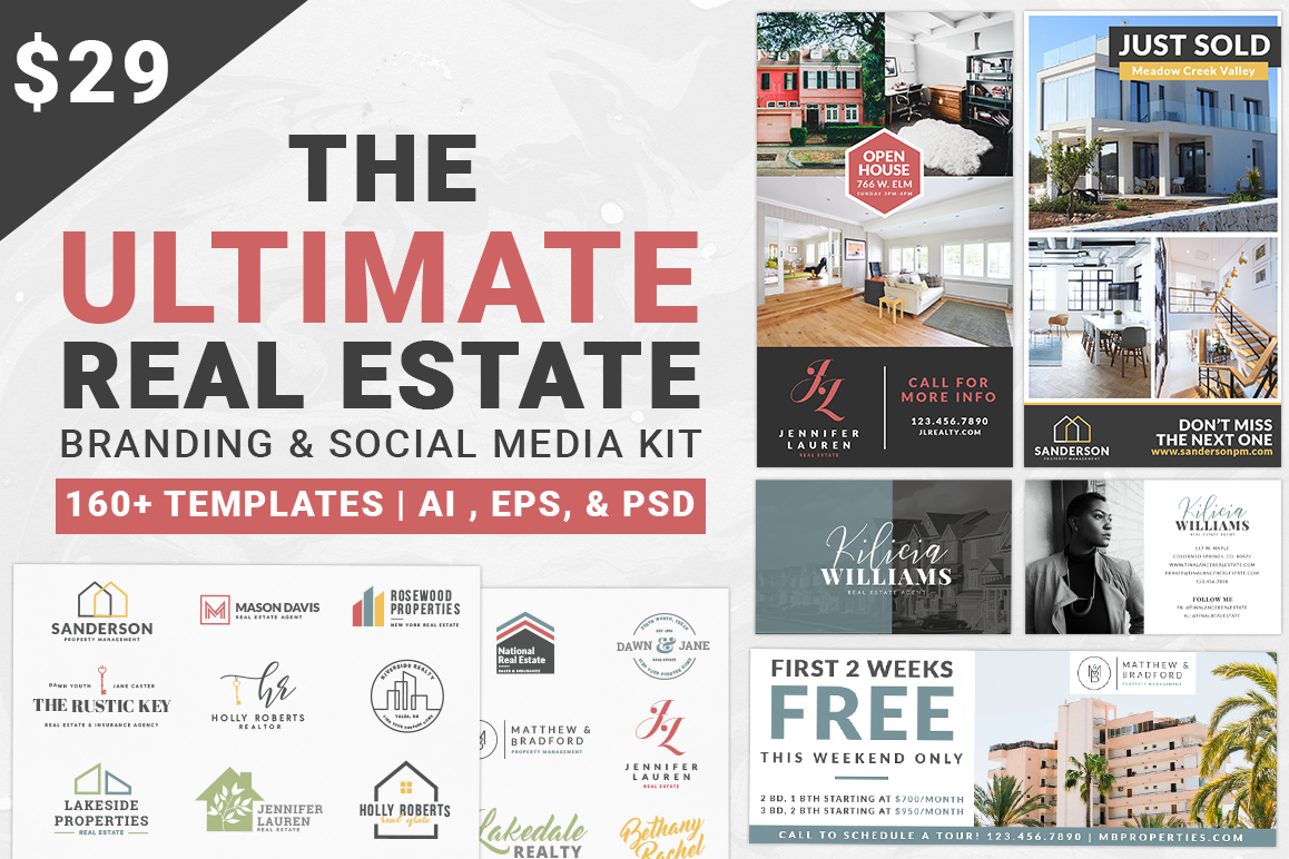 real estate branding social media kit design bundles