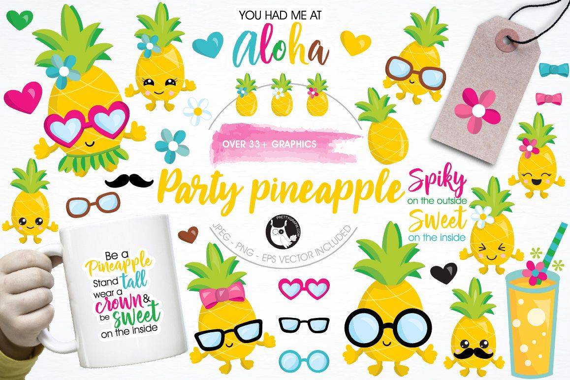 Pineapple party graphics and illustrations example image 1