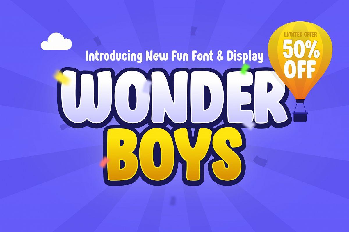 Wonder Boys - Fun Kids Font Display example image 1