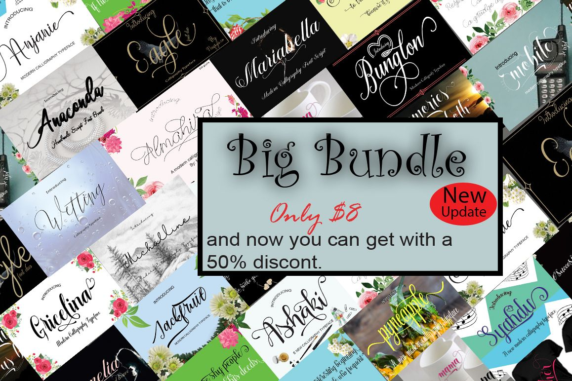 New Update Big Bundle nice collection of font script example image 1