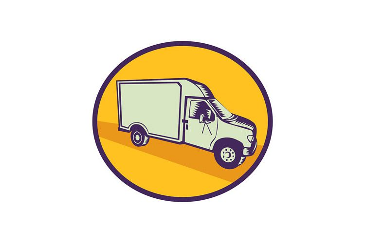 Closed Delivery Van Woodcut example image 1