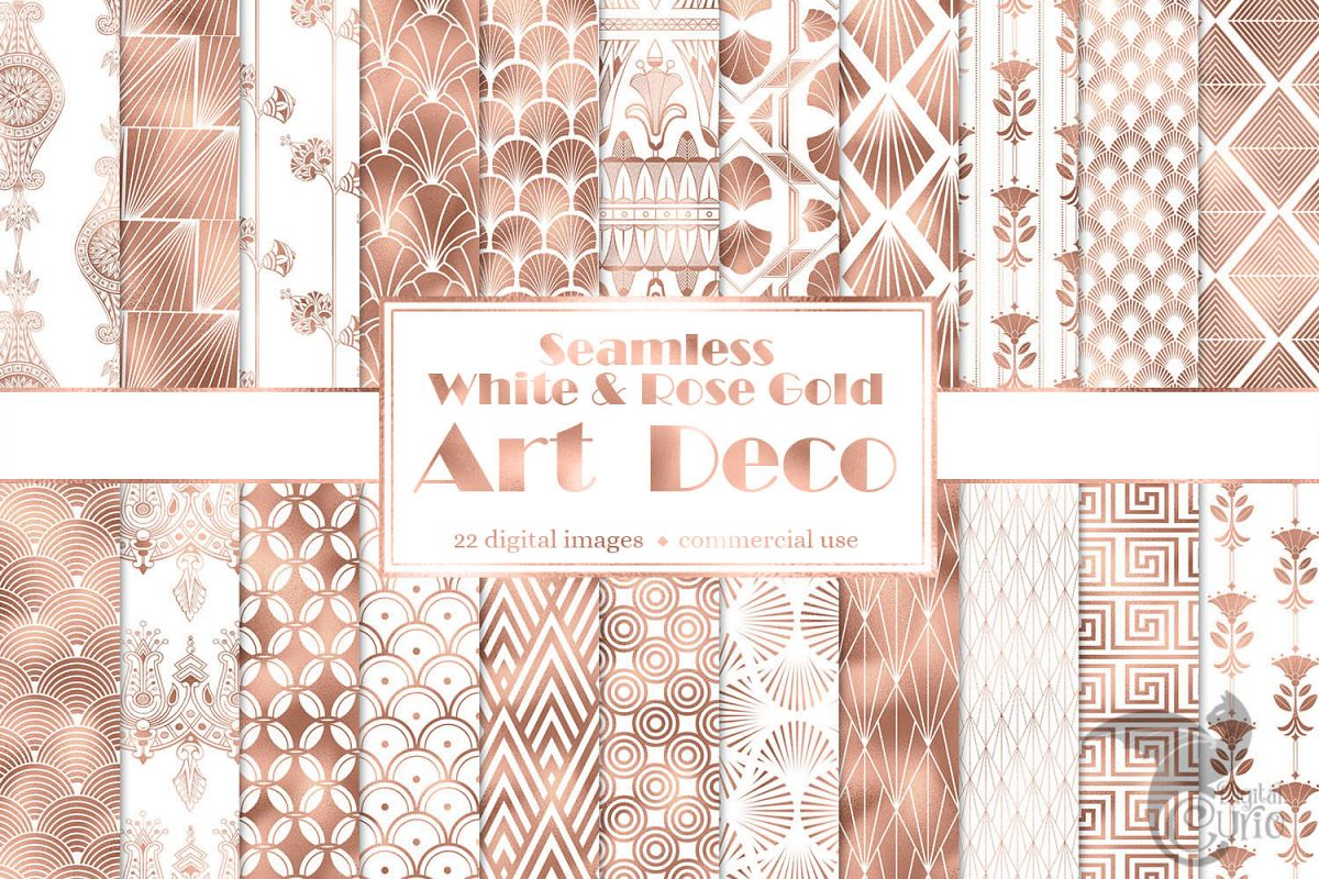 White and Rose Gold Art Deco Digital Paper example image 1