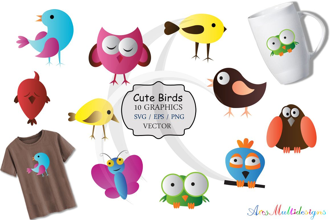 cute birds svg / bird clip art SVG /cute bird vector/ hand drawn doodle cute colourful birds / Eps / Png / printable graphics and illustrations example image 1