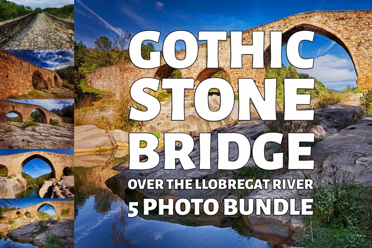 Gothic Stone Bridge Over The River Llobregat Photo Bundle example image 1