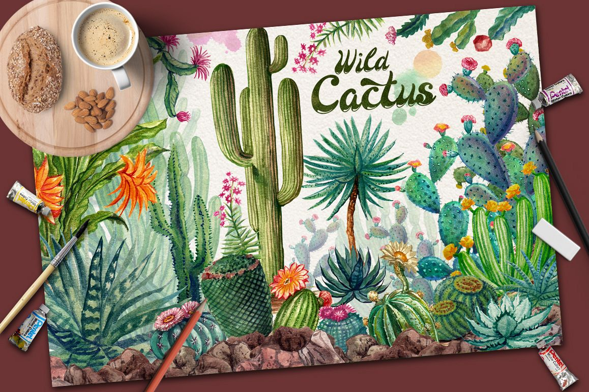Watercolor Cactuses example image 1