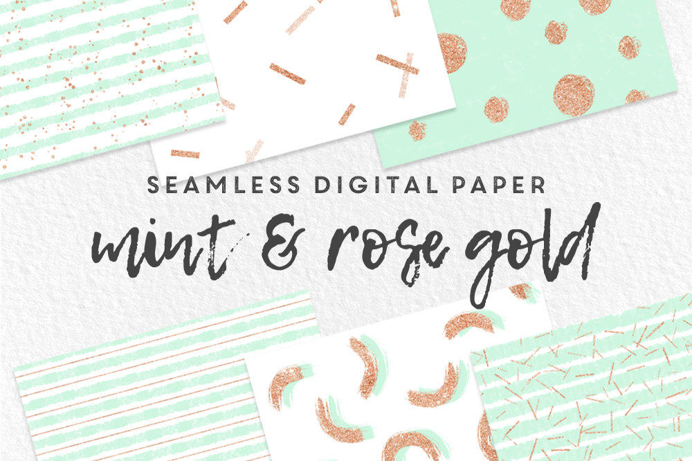 Mint and Rose Gold Seamless Digital Paper example image 1