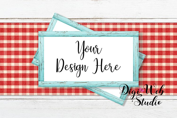 Flat Lay Wood Signs Mockup - Cottage Blue Frames on Runner example image 1
