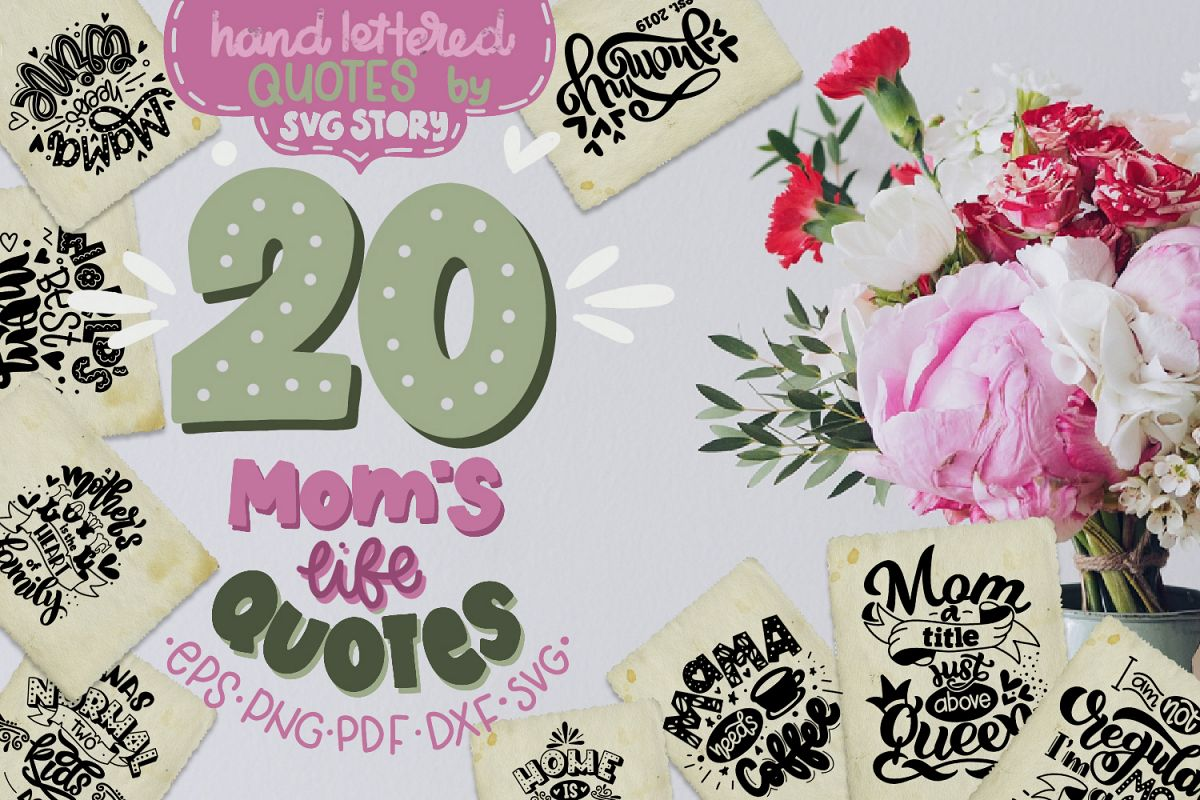 Mom bundle svg Mothers day hand lettered Mother's life example image 1