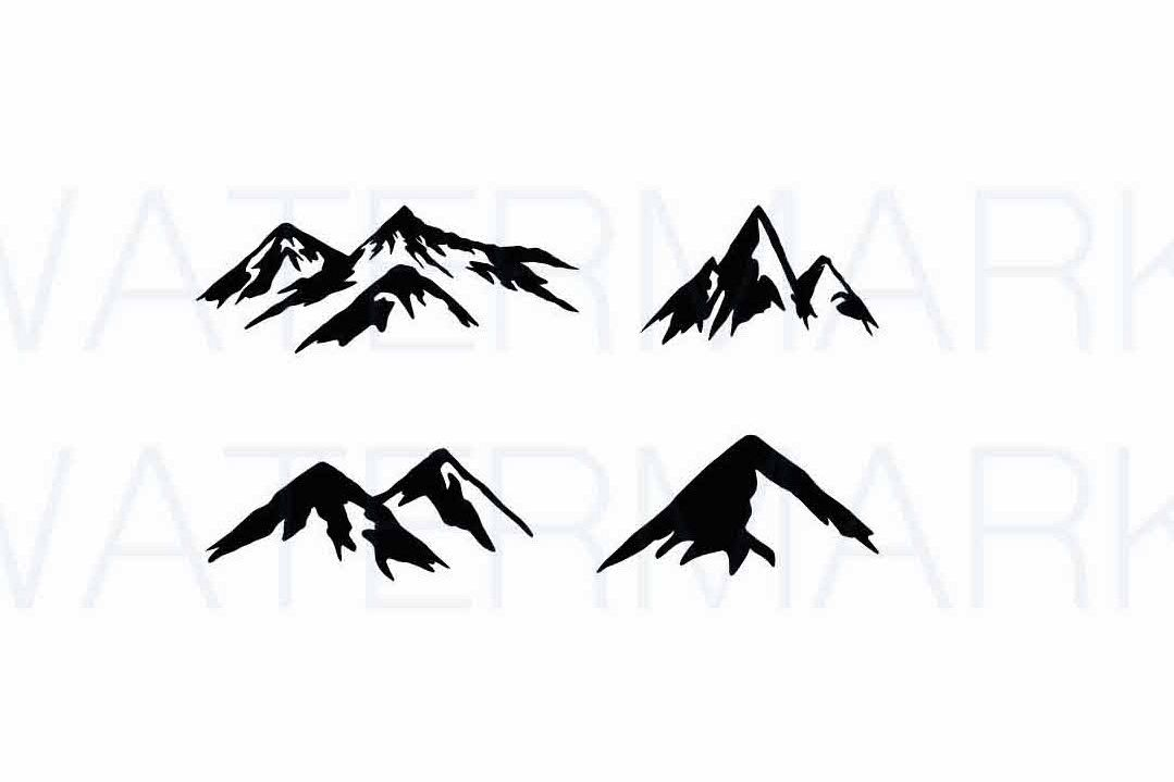 Mountains - SVG / JPG / PNG - Hand Drawing example image 1
