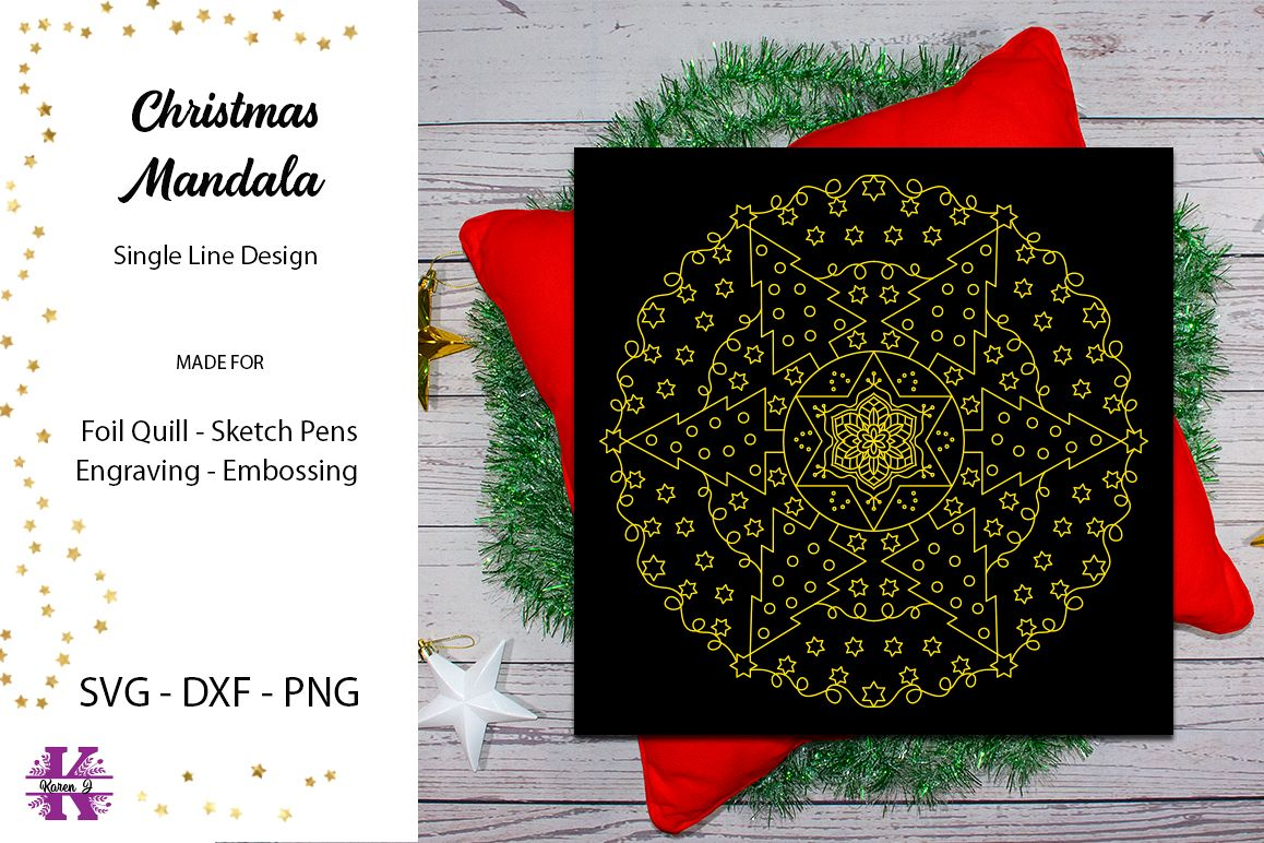 Christmas Mandala for Foil Quill|Single Line Design example image 1