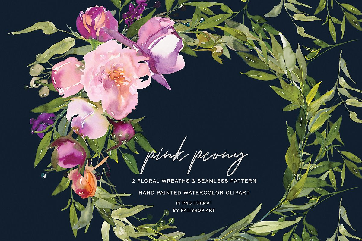 Watercolor Pink Peony Wreath Set example image 1