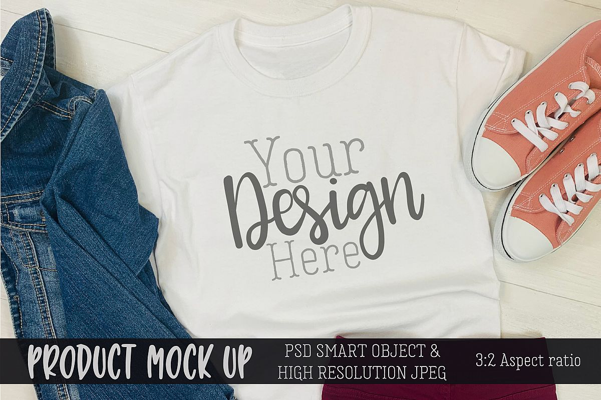 Youth shirt casual outfit Craft mock up | PSD & JPEG example image 1