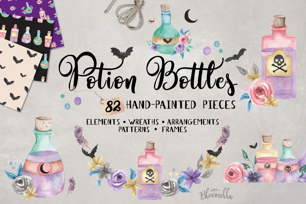 Potion Creator Halloween Spells Patterns Frames HUGE Package example image 1