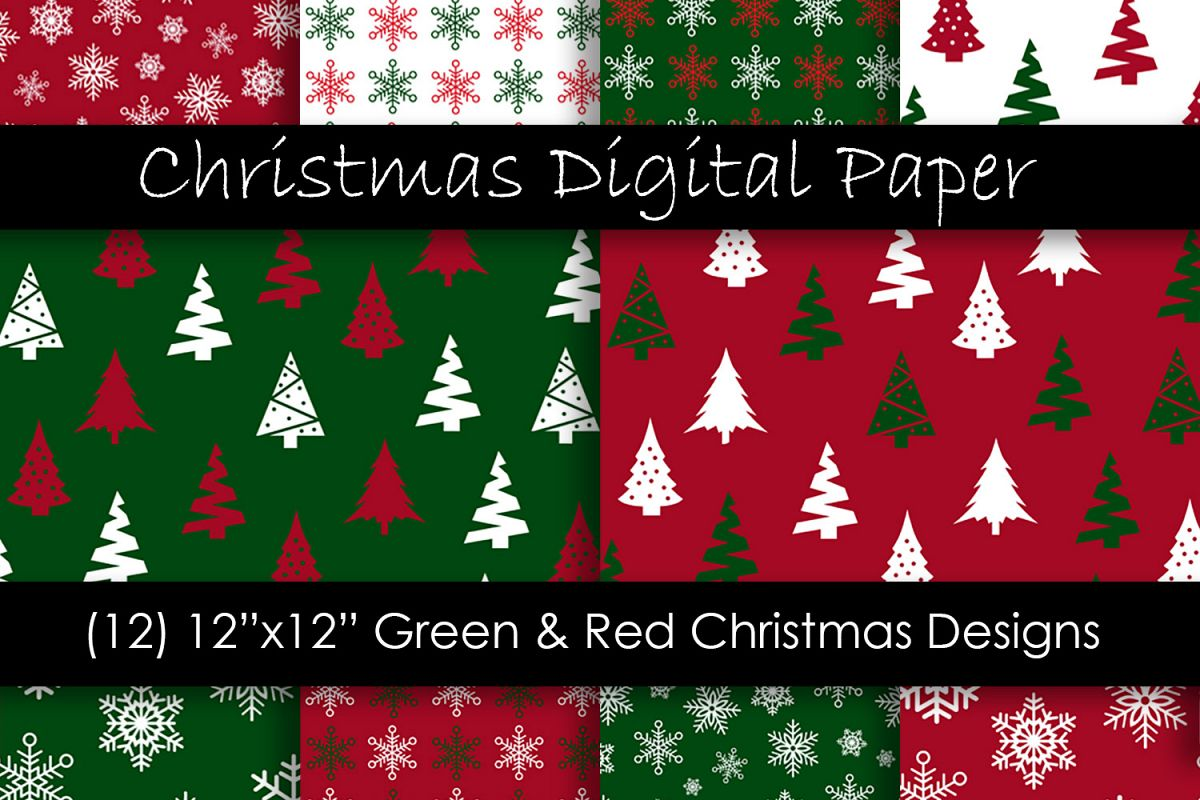 Christmas Digital Paper - Red and Green Christmas Background example image 1