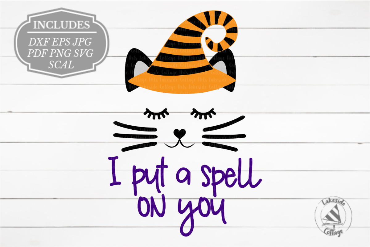 I Put a Spell on You Halloween Cat Face in Witch Hat SVG example image 1