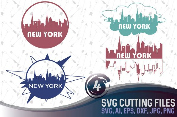4 New York skyline designs - SVG, EPS, PNG, JPG, DXF, AI example image 1
